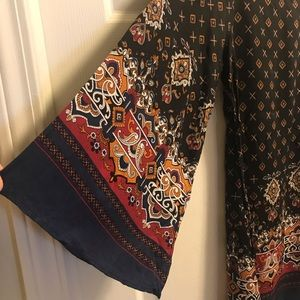 Multi colored rayon bell sleeve tunic